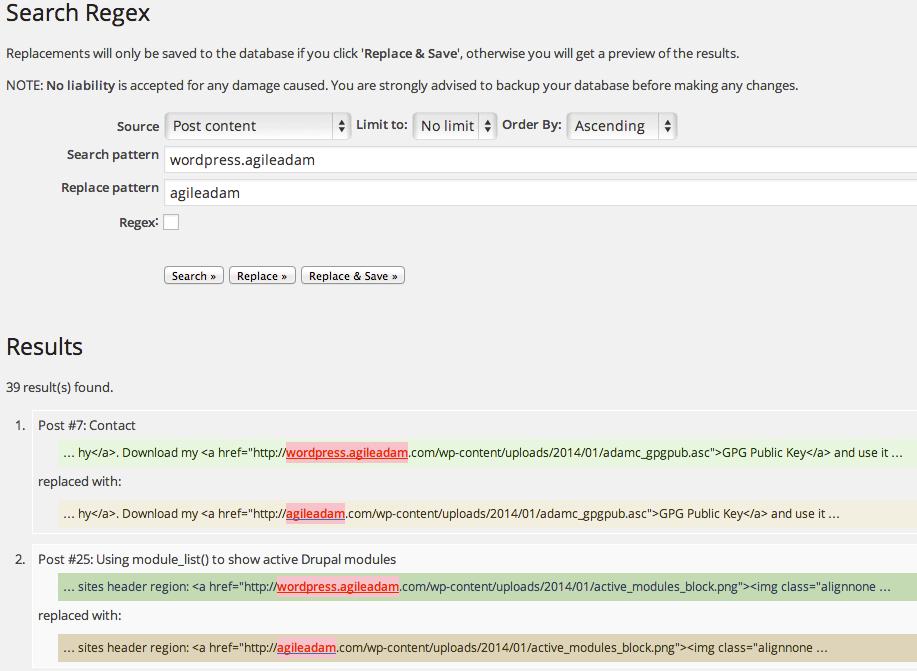 Search Regex plugin